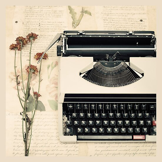 Retro Typewriter and Dried Flowers  by Caroline Mint