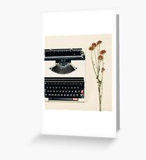 Retro Typewriter and Dried Flowers  Greeting Card