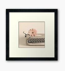 Soft Typewriter and Pink Flower  Framed Print