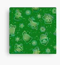 Seamless pattern for Christmas on green background Canvas Print