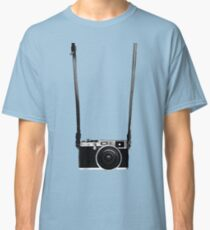 Vintage retro 35mm metal rangerfinder camera on isolated white background. Classic T-Shirt