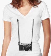 Vintage retro 35mm metal rangerfinder camera on isolated white background. Women's Fitted V-Neck T-Shirt