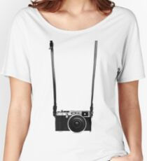Vintage retro 35mm metal rangerfinder camera on isolated white background. Women's Relaxed Fit T-Shirt