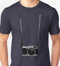 Vintage retro 35mm metal rangerfinder camera on isolated white background. Unisex T-Shirt