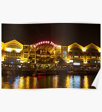 Shimmer of the water at Clarke Quay in Singapore Poster