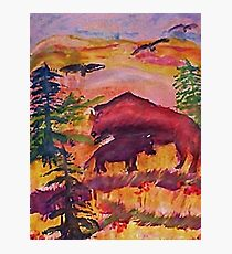 Let the Buffalo roam, Southwestern theme series, watercolor Photographic Print