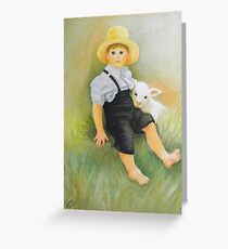 Amish Little Boy With Sheep Greeting Card