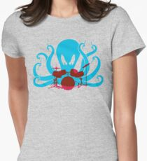 Octo Drummer Womens Fitted T-Shirt