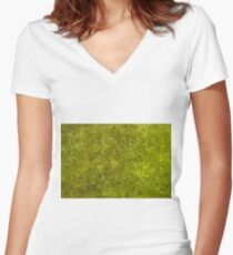 Green algae with air bubbles on a lake surface. Women's Fitted V-Neck T-Shirt