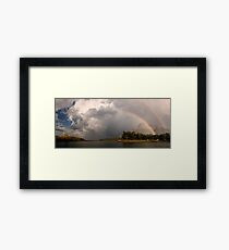 Double Rainbow over Waterton Lakes National Park and The Prince of Wales Hotel. Framed Print
