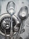 Spoons & Stainless Steel painting by LindaAppleArt