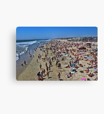 A high res photo on the day of the surfing final Aug 5, 2012 view north from pier.   Canvas Print