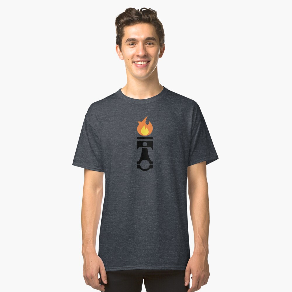 Flaming Piston (fire black) Classic T-Shirt Front