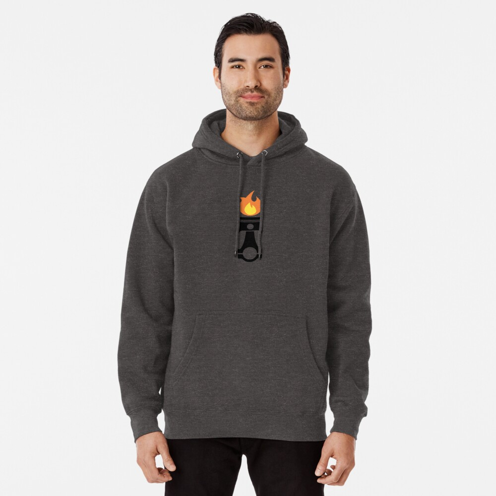 Flaming Piston (fire black) Pullover Hoodie Front