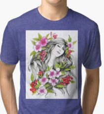 Tangled - Watercolor & ink Illustration  Tri-blend T-Shirt