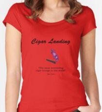 Cigar Landing T-Shirt, New York City Cigar Lounge Women's Fitted Scoop T-Shirt