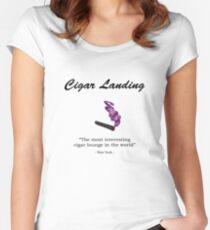 Cigar Landing T-Shirt, New York City Cigar Lounge Women's Fitted Scoop T-Shirt