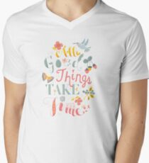 All Good Things - Hand Lettering Inspiring Quote V-Neck T-Shirt
