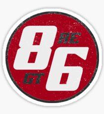 86 - AE or GT?   (dark print) Sticker