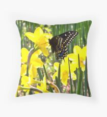 Monarch and Daffodils Throw Pillow