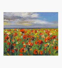 Poppy Field with Storm Clouds Photographic Print