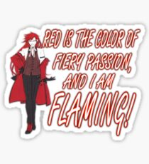Grell is Flaming Red! Sticker