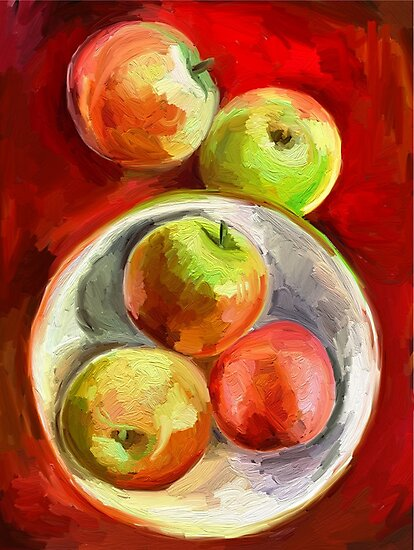 Apples on a Red Platter by micklyn