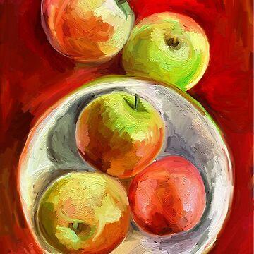 Apples on a Red Platter von micklyn