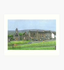 Reeth Chapel and Green, Swaledale Art Print