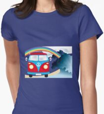 VW T1 van on the beach under rainbow Womens Fitted T-Shirt