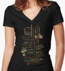 Downton Abbey Word Mosaic Women's Fitted V-Neck T-Shirt