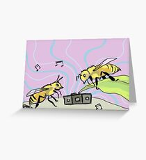 Cool Bees Rock Out Greeting Card