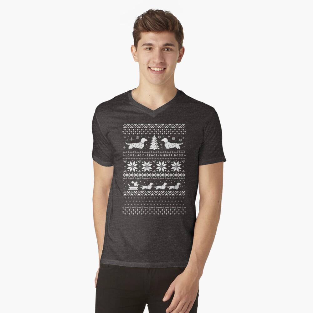 Dachshunds Christmas Sweater Pattern V-Neck T-Shirt