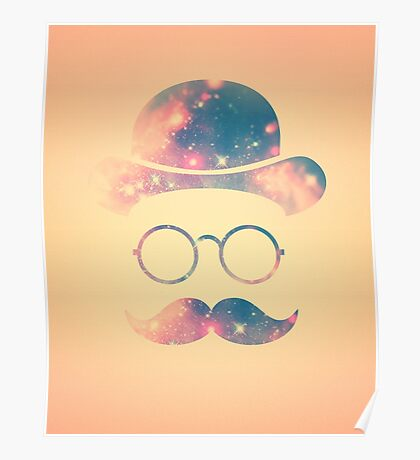 Retro Face with Moustache & Glasses / Universe - Galaxy Hipster (GOLD)) Poster