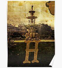 Grungy Melbourne Australia Alphabet Letter H Hochgurtel Fountain Poster