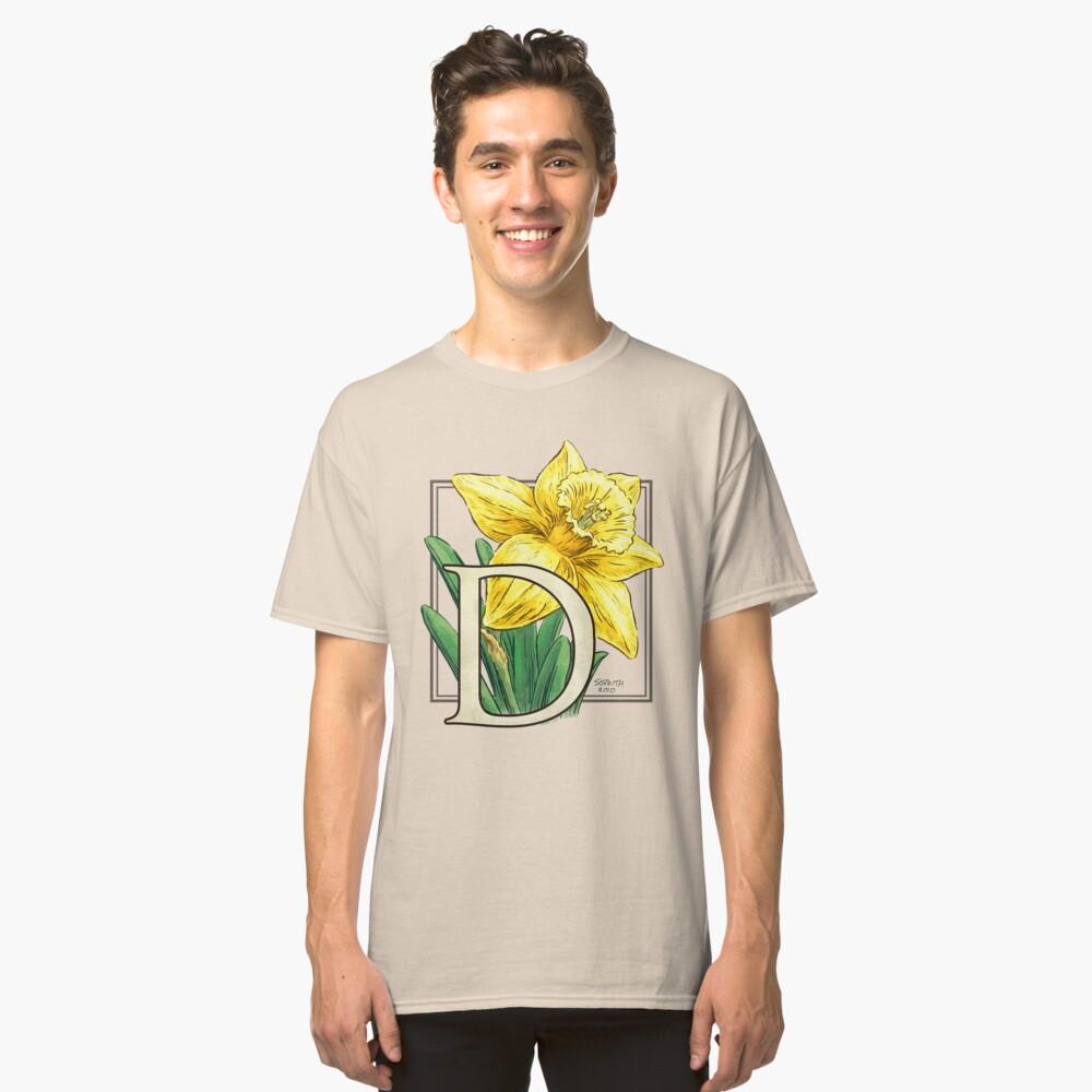 D is for Daffodil Flower Monogram Classic T-Shirt