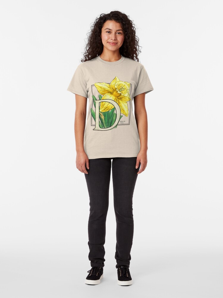 Alternate view of D is for Daffodil Flower Monogram Classic T-Shirt