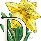 D is for Daffodil Flower Monogram Floating by Stephanie Smith