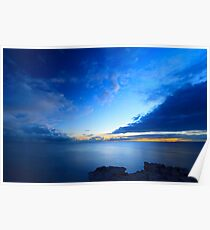 Beautiful blue sky over the sea at sunset  Poster