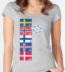 Nordic Cross Flags Women's Fitted Scoop T-Shirt