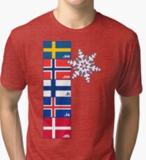 Nordic Cross Flags Tri-blend T-Shirt