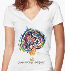 Jean Michel Basquiat Head Women's Fitted V-Neck T-Shirt