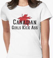Canada Canadian Girls Kick Ass Women's T-Shirt Womens Fitted T-Shirt
