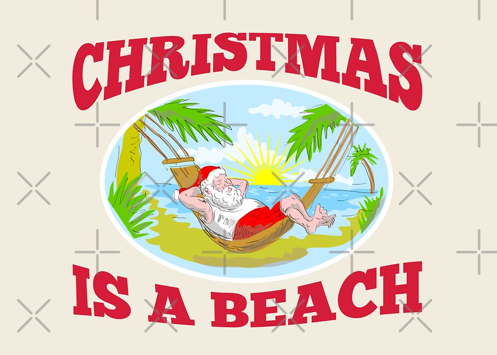 Santa Claus Father Christmas Beach Relaxing by patrimonio