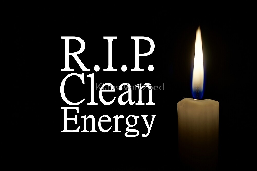 rip clean energy typo candle by Klaus Vartzbed