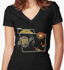 Tie Rex and the Rebeldactyls Women's Fitted V-Neck T-Shirt