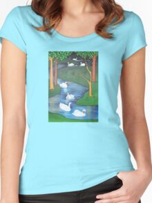 A Flock of Seven Swans-A-Swimming ..... Women's Fitted Scoop T-Shirt