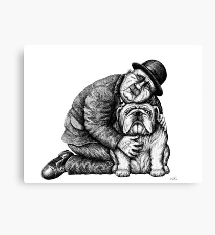 Man and Bulldog pen ink black and white drawing Canvas Print