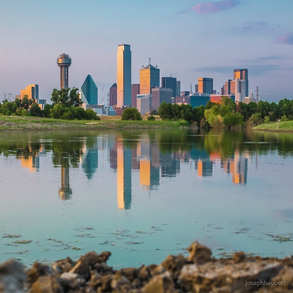 Dallas Skyline Reflection on Trinity Shore by josephhaubert
