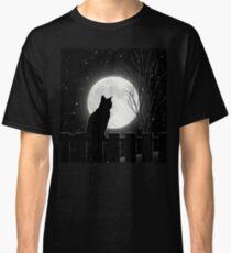 Moon Bath II, cat full moon winter night Classic T-Shirt
